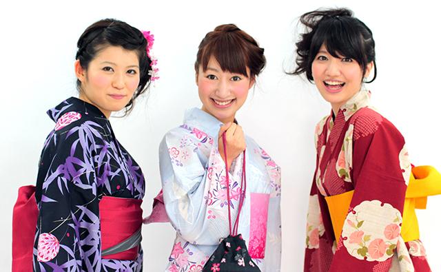 きれいな浴衣女子3人組